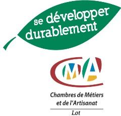 logo de la chambre des métiers et de l'artisanat du Lot avec en titre se développer durablement