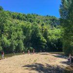 plage du village de Cabrerets, vallée du Célé dans le Lot